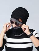 olcso Férfi kalapok, sapkák-Férfi Uniszex Egyszínű Akril Kötöttáru,Munkahelyi Alap-Sísapka Ősz Tél Fekete Bor Barna