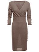 baratos Vestidos Suéter-Mulheres Tubinho Vestido Sólido Médio