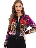 Χαμηλού Κόστους Φορέματα NYE-Γυναικεία Καθημερινά Κανονικό Σακάκι, Συνδυασμός Χρωμάτων Όρθιος Γιακάς Μακρυμάνικο Πολυεστέρας Ουράνιο Τόξο