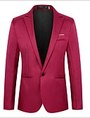 ราคาถูก เบลเซอร์ &สูทผู้ชาย-สำหรับผู้ชาย เสื้อคลุมสุภาพ ปกคอแบะของเสื้อแบบพึค เส้นใยสังเคราะห์ สีดำ / ไวน์ / สีฟ้า