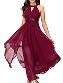 olcso Női ruhák-Női Elegáns A-vonalú Ruha - Nyomtatott, Egyszínű Maxi V-alakú