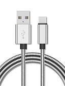 olcso Kábelek & Töltő-fém fonott mikro usb c típusú kábel a huawei p20 micro usb c gyors töltésű adatkábelhez a xiaomi oneplus redmi töltővezetékhez