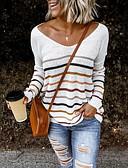 billige Gensere til damer-Dame Stripet Langermet Løstsittende Pullover Genserjumper, V-hals Svart / Hvit / Blå S / M / L