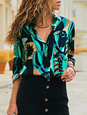 baratos Camisas Femininas-Mulheres Camisa Social Básico Estampado, Geométrica Azul