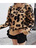 billige Gensere til damer-Dame Leopard Langermet Pullover Genserjumper Kakifarget En Størrelse