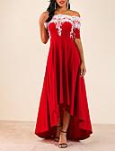 baratos Vestidos Plus Size-Mulheres Evasê Vestido Sólido Ombro a Ombro Assimétrico