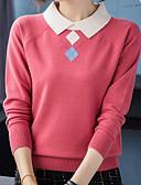 billige Gensere til damer-Dame Ensfarget Langermet Pullover Genserjumper, Skjortekrage Svart / Hvit / Gul M / L / XL