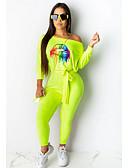 Χαμηλού Κόστους Γυναικείες μακριές και μίνι ολόσωμες φόρμες-Γυναικεία Μαύρο Πορτοκαλί Πράσινο του τριφυλλιού Βράκα Φόρμες Ολόσωμη φόρμα, Γεωμετρικό Τ M L