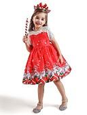 olcso Lány ruhák-Gyerekek Lány aranyos stílus Mikulás Rajzfilm Hópehely Karácsony Csipke Fűzős Rövid ujjú Térdig érő Ruha Rubin