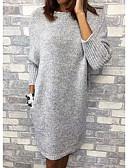 Χαμηλού Κόστους Γυναικεία Φορέματα-Γυναικεία Πλεκτά Φόρεμα - Μονόχρωμο Ως το Γόνατο