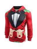 olcso Férfi pólók és pulóverek-Férfi Karácsony Kapucnis felsőrész Nyomtatott