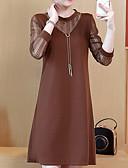 olcso Női ruhák-Női Alap Egyenes Ruha - Csipke, Egyszínű Térd feletti