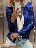 olcso Maxi ruhák-Női Napi Tavasz & Ősz Szokványos Dzsekik, Egyszínű Kerek Hosszú ujj Poliészter Fekete / Arcpír rózsaszín / Ezüst