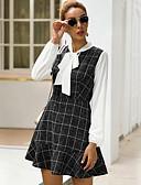 olcso Print Dresses-Női Alap A-vonalú Ruha Kockás Térd feletti
