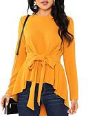 billige Bluser-Skjorte Dame - Ensfarget Grunnleggende Svart