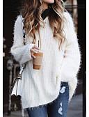 billige Gensere til damer-Dame Ensfarget Langermet Store størrelser Løstsittende Pullover Genserjumper, V-hals Hvit / Rosa / Blå S / M / L