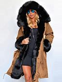 olcso Női hosszú kabátok és parkák-Női Egyszínű Hosszú Anorák, Poliészter Katonai zöld / Medence / Teveszín S / M / L