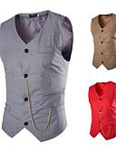 ราคาถูก เบลเซอร์ &สูทผู้ชาย-สำหรับผู้ชาย เสื้อกั๊ก, สีพื้น คอวี เส้นใยสังเคราะห์ สีดำ / ขาว / ทับทิม / เพรียวบาง