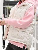olcso Női hosszú kabátok és parkák-Női Egyszínű Prsluk, Poliészter / POLY Fekete / Fehér S / M / L
