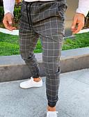 olcso Férfi nadrágok és rövidnadrágok-Férfi Alap Pamutszövet nadrág Nadrág - Kockás / Tarka Fekete Világos szürke Sötétszürke US32 / UK32 / EU40 US36 / UK36 / EU44 US38 / UK38 / EU46