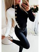 cheap Women's Blouses-Women's Daily Blouse - Color Block Black