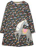 baratos Vestidos para Meninas-Infantil Para Meninas Geométrica Vestido Verde