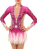 זול חדר כושר-בגדי גוף קצביים להתעמלות בגדי גוף אמנותיים להתעמלות בגדי ריקוד נשים בנות בגד גוף ורוד מסמיק גמישות גבוהה עבודת יד מראה יהלום הצללה שרוול ארוך תחרות בלט ריקוד אימון
