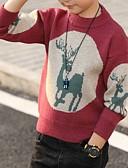 povoljno Džemperi i kardigani za dječake-Djeca Dječaci Osnovni Print Božić Dugih rukava Džemper i kardigan Red
