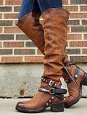 povoljno Ženske kaputi od kože i umjetne kože-Žene Čizme Čizme do koljena Niska potpetica Okrugli Toe PU Čizme do koljena Jesen zima Crn / Braon / Lila-roza