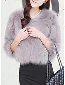 povoljno Prsluci-Žene Party / Praznik Aktivan Zima Normalne dužine Faux Fur Coat, Jednobojni Okrugli izrez Dugih rukava Fox krzna / Raccoon Fur Crn / Obala / purpurna boja