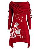 baratos Vestidos de Mulher-Mulheres Festa Básico Evasê Vestido Geométrica Ombro a Ombro Assimétrico Papai Noel