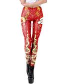 olcso Leggingek-Női Karácsony Mintás Legging - Nyomtatott Közepes csípő Rubin Lóhere S M L / Vékony
