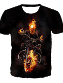 billige T-skjorter og singleter til herrer-T-skjorte Herre - 3D / Grafisk / Hodeskaller, Trykt mønster Grunnleggende / overdrevet Svart