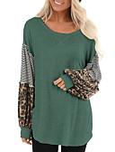 billige T-skjorter til damer-T-skjorte Dame - Stripet / Leopard Tropisk blad Svart