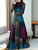 billige Kjoler med trykk-Dame Grunnleggende A-linje Kjole - Fargeblokk Midi