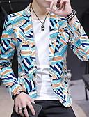 ราคาถูก เบลเซอร์ &สูทผู้ชาย-สำหรับผู้ชาย เสื้อคลุมสุภาพ, ลายบล็อคสี ปกคอแบะของเสื้อแบบพึค เส้นใยสังเคราะห์ สีเหลือง / ใบไม้สีเขียวที่มีสามแฉก / สีกากี