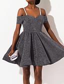 Χαμηλού Κόστους Φορέματα NYE-Γυναικεία Κομψό Γραμμή Α Φόρεμα - Μονόχρωμο Πάνω από το Γόνατο