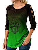baratos Camisetas Femininas-Mulheres Camiseta Caveiras Azul Claro