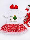 olcso Bébi ruházat-Baba Lány Aktív Nyomtatott / Karácsony Hosszú ujj Ruha Fehér / Kisgyermek