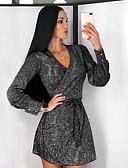 baratos Mini Vestidos-Mulheres Moda de Rua Evasê Vestido Poá Decote em V Profundo Acima do Joelho