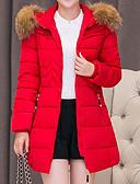 olcso Női hosszú kabátok és parkák-Női Egyszínű Hosszú Kosaras, Poliészter Fekete / Medence / Rubin M / L / XL