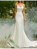 Χαμηλού Κόστους Νυφικά-Τρομπέτα / Γοργόνα Λαιμόκοψη V Ουρά Σιφόν Λεπτές Τιράντες Mordern Εξώπλατο Φορέματα γάμου φτιαγμένα στο μέτρο με Εισαγωγή δαντέλας 2020