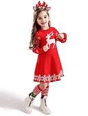 Χαμηλού Κόστους Βρεφικά σετ ρούχων-Παιδιά Νήπιο Κοριτσίστικα Ενεργό Γλυκός Νιφάδα χιονιού Ζώο Χιονονιφάδα Χριστούγεννα Στάμπα Κοντομάνικο Ως το Γόνατο Φόρεμα Θαλασσί