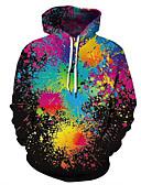 billige Hettegensere og gensere til herrer-Herre Fritid / Grunnleggende Hattetrøje 3D / Regnbue / Batikkfarget