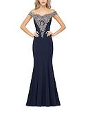 Χαμηλού Κόστους Βραδινά Φορέματα-Τρομπέτα / Γοργόνα Ώμοι Έξω Ουρά Πολυεστέρας Ανοικτή Πλάτη Επίσημο Βραδινό Φόρεμα 2020 με Διακοσμητικά Επιράμματα / Κρυστάλλινη λεπτομέρεια