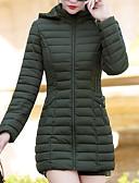 olcso Női hosszú kabátok és parkák-Női Egyszínű Szokványos Pehely, Poliészter Fekete / Bor / Lóhere L / XL / XXL