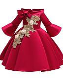 olcso Virágszóró kislány ruhák-A-vonalú Közepes hossz Virágoslány ruha - Poliészter / Szatén / Poli & pamut keverék Háromnegyedes Aszimmetrikus val vel Rátétek / Csokor által LAN TING Express