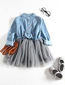povoljno Haljinice za bebe-Dijete Djevojčice Aktivan Kolaž / Jednobojni Kolaž Dugih rukava Haljina Svjetloplav
