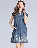 baratos Vestidos de Noite-Mulheres Vintage Ganga Vestido - Bordado, Sólido Acima do Joelho Azul