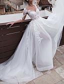 ราคาถูก ชุดแต่งงาน-A-line คอวี ชายกระโปรงคอร์ท ลูกไม้ / Tulle ชุดแต่งงานที่ทำขึ้นเพื่อวัด กับ กระดุม โดย LAN TING Express